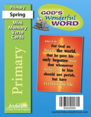 God's Wonderful Word Primary (grades 1-2) Mini  Memory Verse Cards (Spring Quarter)  -