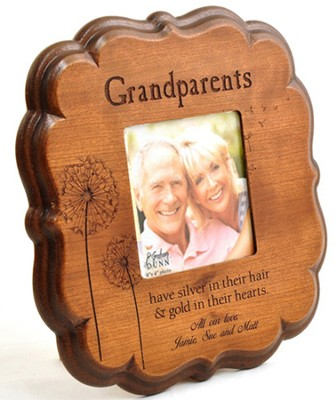 Personalized, Grandparents 4X4 Photo Frame, Cherry   -
