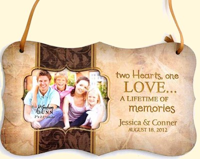 Personalized, Two Hearts One Love, Hanging Photo Plaque, Tan  -