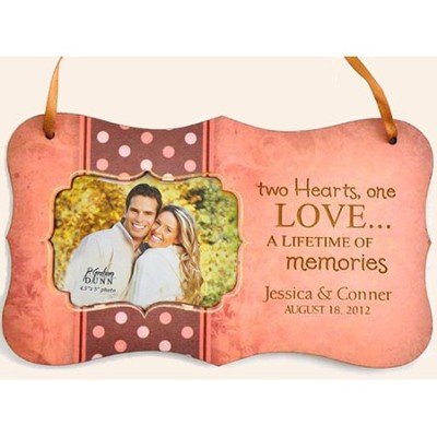 Personalized, Two Hearts One Love, Hanging Photo Plaque, Pink  -