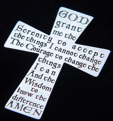 Serenity Prayer, Sterling Silver Cross Pocket Token  -
