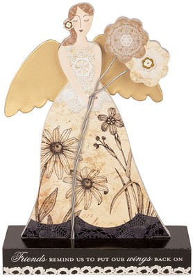 Friends Remind Us Angel Figurine  -     By: Lori Siebert