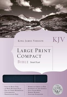 KJV Compact Bible, Large Print, Bonded leather Navy blue w/magnetic flap  -