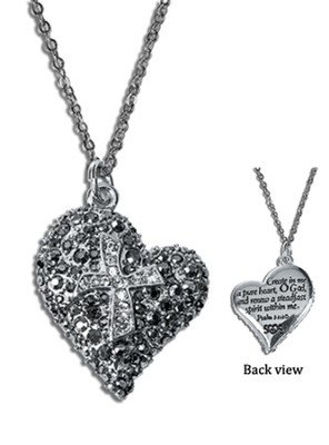 Crystal Heart Pendant, Psalm 51:10  -