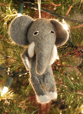 Felt Ornament Finger Puppet, Elephant, Fair Trade Product  -