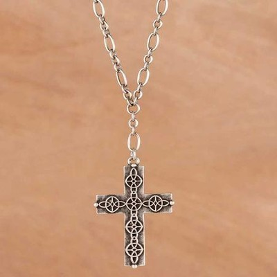Cross Necklace, Trinity Etched Design  -