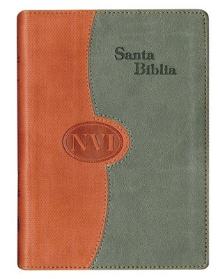 NVI, Large Print Bible, Imitation Leather, Duo-Tone, Brick & Gray, Thumb Indexed  -