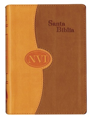 NVI, Large Print Bible, Imitation Leather, DuoTone, Orange & Tan  -