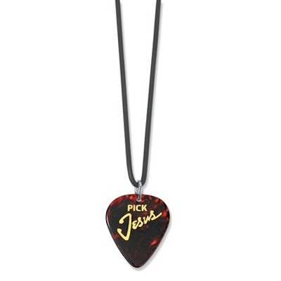 Jesus Guitar Pick Necklace, Brown   -