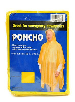 Poncho - Yellow- Adult one size fits all  -