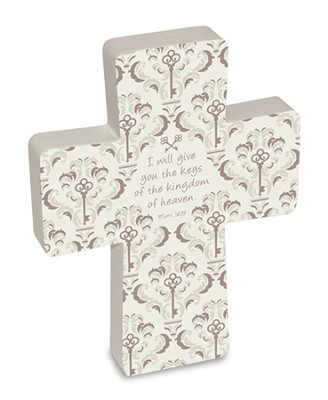 Wooden Cross, Keys of the Kingdom, Gift Boxed  -