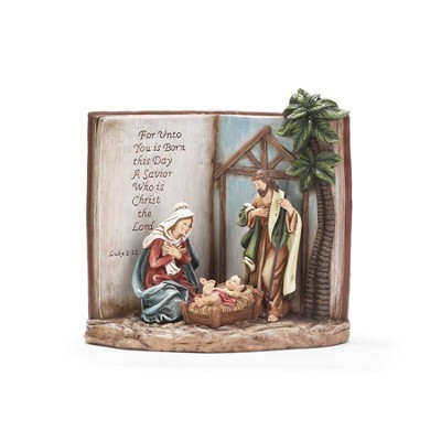Holy Family Figurine with Bible Background, Luke 2:11  -