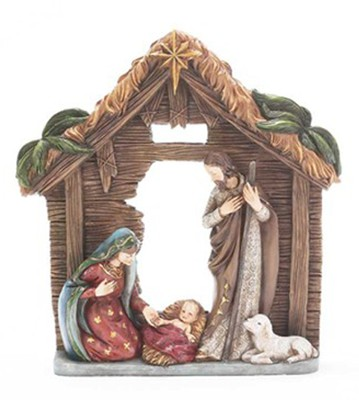 Holy Family in Creche Figurine  -