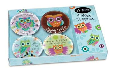Owl Bubble Magnets, Set of 4  -