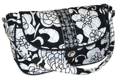 Quilted Purse with Handles, Psalm 118:24, Black and White  -