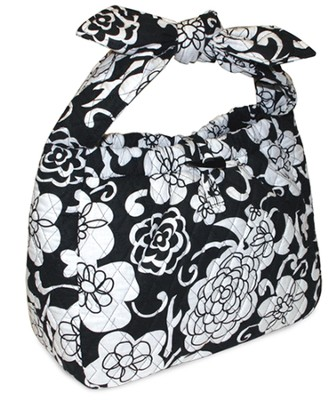 Quilted Purse with Tied Handles, John 16:33, Black and White  -