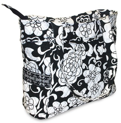 Quilted Tote Bag, John 1:14,16, Black and White  -