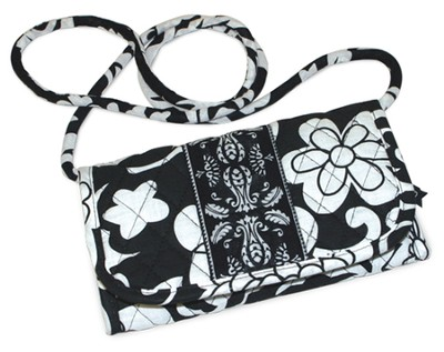 Quilted Wallet with Shoulder Strap, Matthew 19:26, Black and White  -