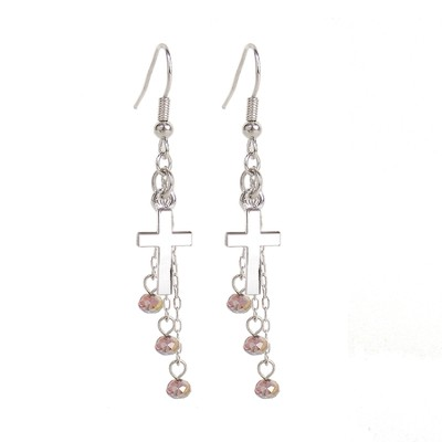 Sideway Cross Earrings, Clear Crystal  -