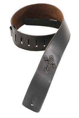 Guitar Strap with Rhinestone Cross, Black  -