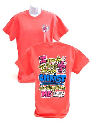 Girly Grace Strength Shirt, Coral,  Small  -