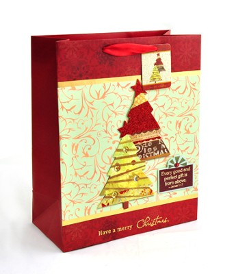 Christmas Trees Gift Bag, Medium   -