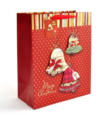 Christmas Bells Gift Bag, Extra Large   -