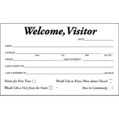 Welcome, Visitor Pew Cards, 50   -