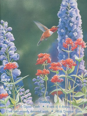 Birds and Flowers Birthday Cards, Box of 16  -     By: Susan Bourdet