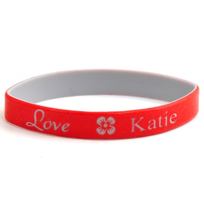 Personalized, Love Wristband, With Name and Flower, Red  -