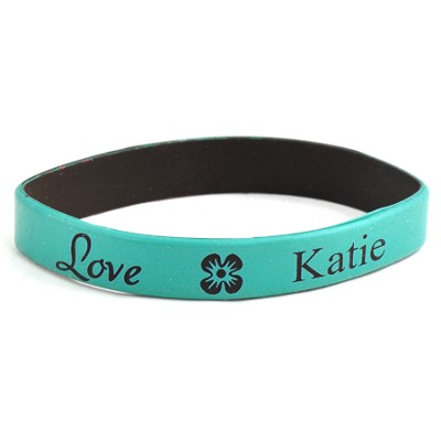 Personalized, Love Wristband, With Name and Flower, Teal  -