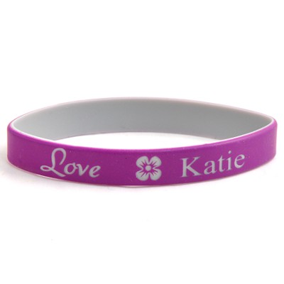 Personalized, Love Wristband, With Name and Flower, Purple  -