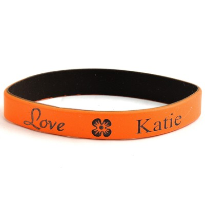 Personalized, Love Wristband, With Name and Flower, Orange  -