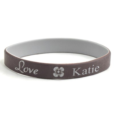 Personalized, Love Wristband, With Name and Flower, Brown  -