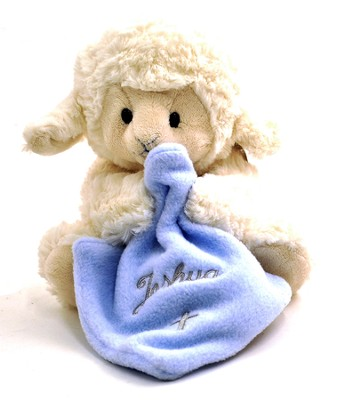 Personalized, Musical Lamb, Jesus Loves Me, with  Blanket, Blue  -