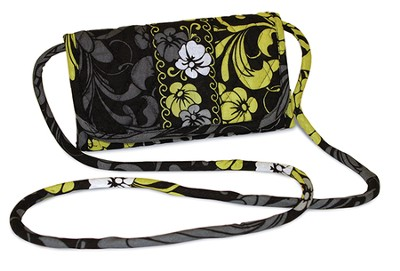 Quilted Hanging Wallet, Black, White, and Chartreuse  -