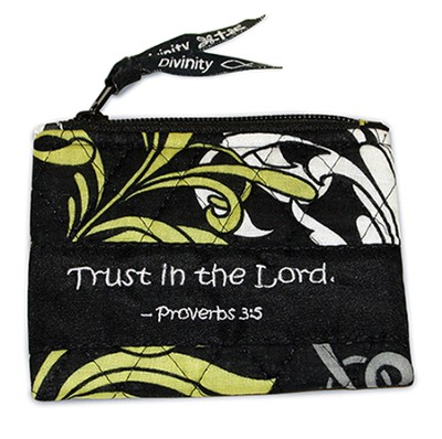 Quilted Coin Purse, Black, White, and Chartreuse  -