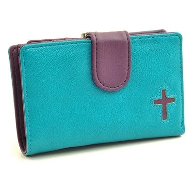 Cross Wallet, Turquoise and Purple, Large  -