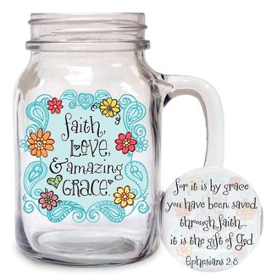 Faith, Love, Amazing Grace Glass  -