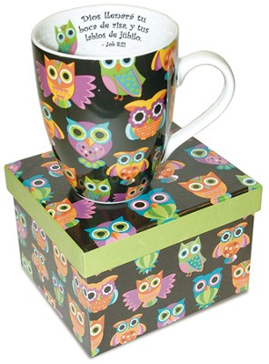 Dios Llenará Tu Boca, Taza Buho  (God Will Fill Your Mouth, Owl Mug)   -