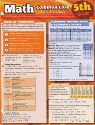 5th Grade Math Common Core State Standards QuickStudy Chart  -