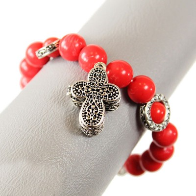 Filigree Prayer Box Cross Bracelet, Red  -