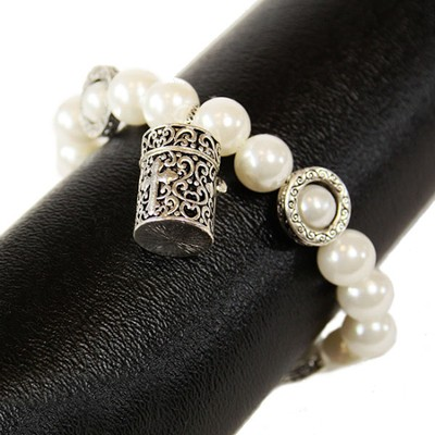 Filigree Prayer Box Bracelet, Pearl  -
