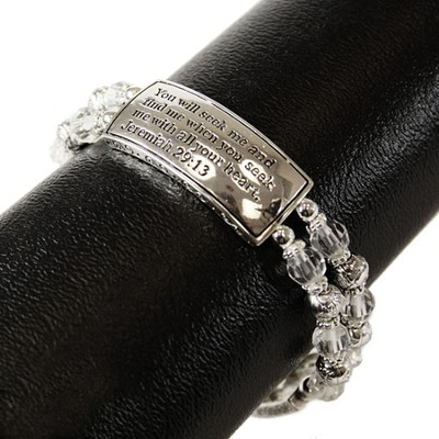 You Will Seek Me, Jeremiah 29:13 Bracelet, Silver and Crystal  -