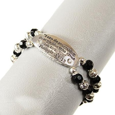 I Can Do All Things, Philippians 4:13 Bracelet, Black  Beads  -