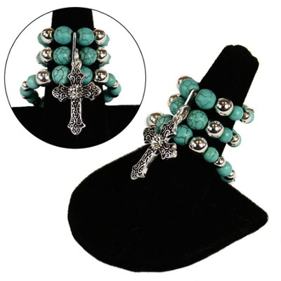 Triple Stretch Cross Charm Ring, Turquoise  -