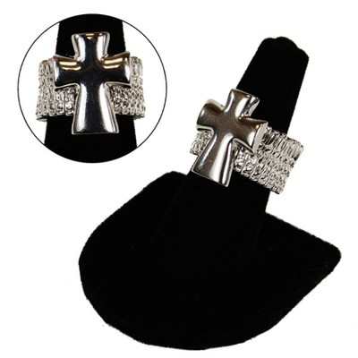 Silver Cross Stretch Ring  -