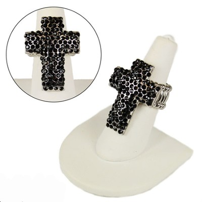 Pave Crystal Cross Stretch Ring, Black  -