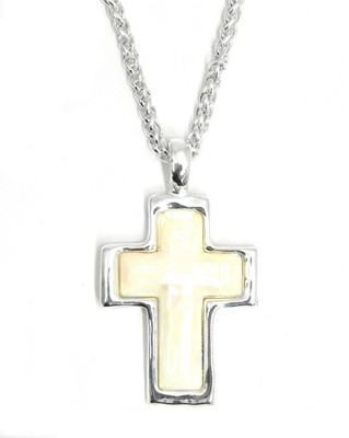 Mother of Pearl Cross Necklace  -