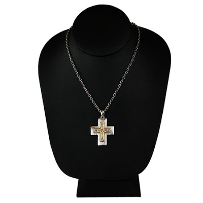 Matte Gold Crystal Cross Necklace  -